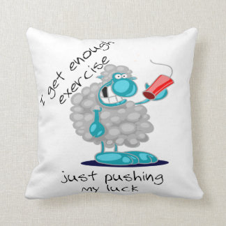 Funny Sheep with Dynamite Pushing My Luck Pillow