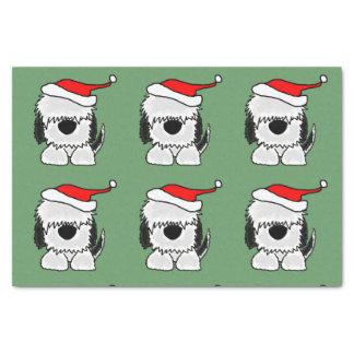 Funny Sheepdog in Santa Hat Christmas Tissue Paper