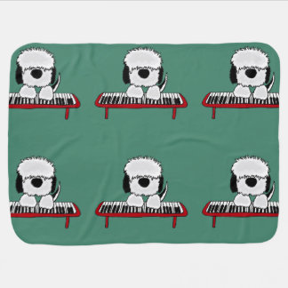Funny Sheepdog Playing Keyboard Baby Blanket