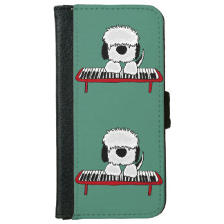 Funny Sheepdog Playing Keyboard iPhone 6 Wallet Case