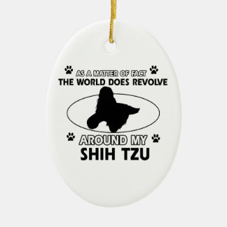 Funny shih tzu designs ceramic oval decoration