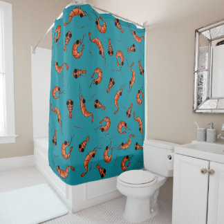 Funny shrimp kawaii shower curtain