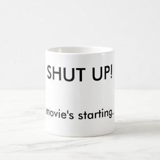 Funny Shut Up Movie Night Custom Basic White Mug