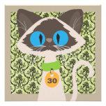 Funny Siamese Cat Script 30th Birthday Party Personalized Invite