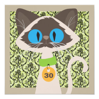 Funny Siamese Cat Script 30th Birthday Party Personalized Invites