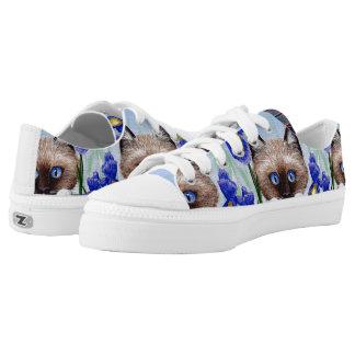 Funny Siamese Ragdoll Cat Purple Iris Printed Shoes