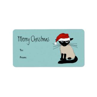 Funny Siamese Santa Claws Christmas Address Label