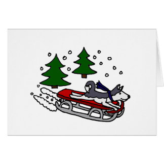 Funny Siberian Husky Dog Riding on Sled Greeting Card