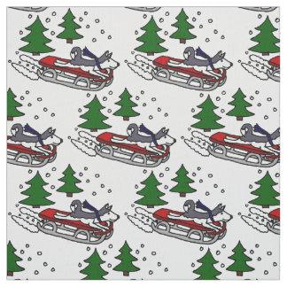 Funny Siberian Husky Sledding Fabric