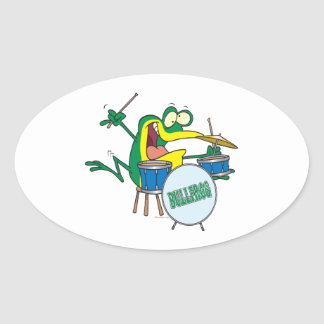 funny silly cartoon frog drummer cartoon oval sticker