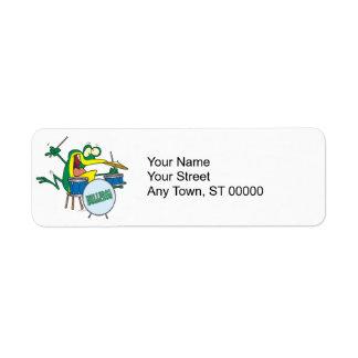 funny silly cartoon frog drummer cartoon return address label