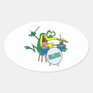 funny silly cartoon frog drummer cartoon stickers