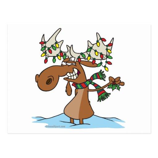 Funny Silly Christmas Moose Cartoon Zazzle