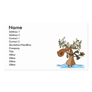 funny silly christmas moose cartoon business card template