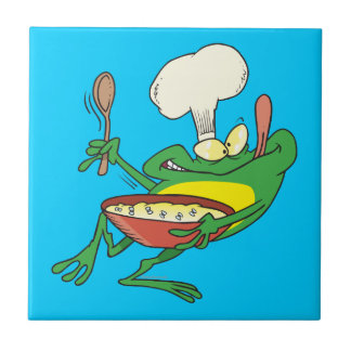 funny silly cooking chef frog cartoon tile