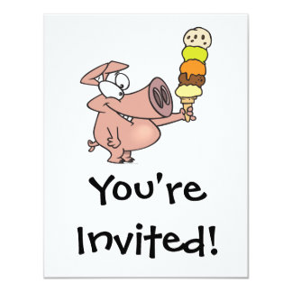 """funny silly cute piggy pig with ice cream cone 4.25"""" x 5.5"""" invitation card"""