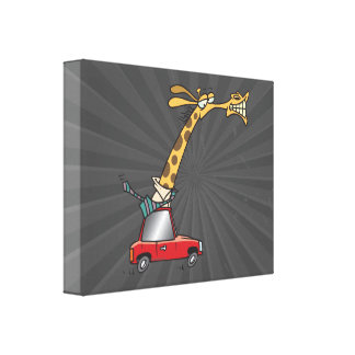 funny silly giraffe in a car commuting canvas prints