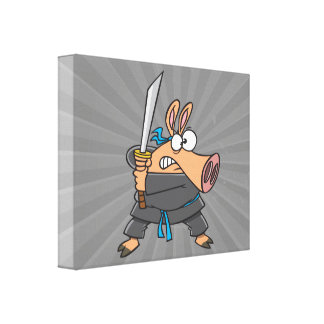 funny silly ninja karate pig piggy cartoon stretched canvas prints
