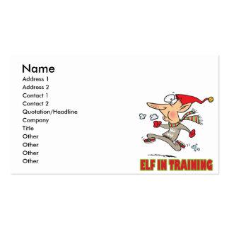 funny silly santa elf in training jogging cartoon business cards
