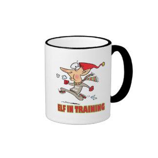 funny silly santa elf in training jogging cartoon coffee mugs
