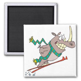 funny silly ski jump rhino cartoon magnets