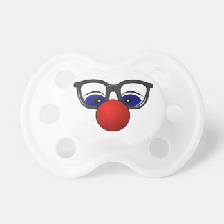 Funny Simple Clown Face Just Red Nose Eyes Glasses Baby Pacifier