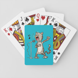 Funny Singing Cat Playing Cards / Blue
