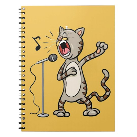 Funny Singing Cat Spiral Note Book  / Yellow