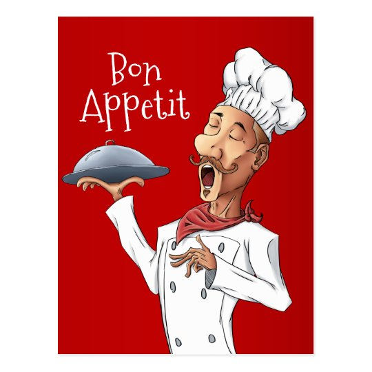 Funny Singing Chef on Red Postcard
