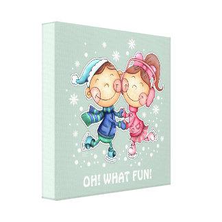 Funny Skating Kids design Custom Gift Canvas Print