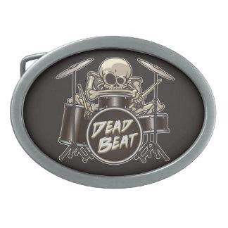 Funny Skeleton Drummer Oval Belt Buckle