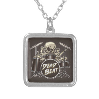 Funny Skeleton Drummer Silver Plated Necklace