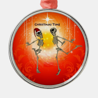 Funny skeletons christmas ornament