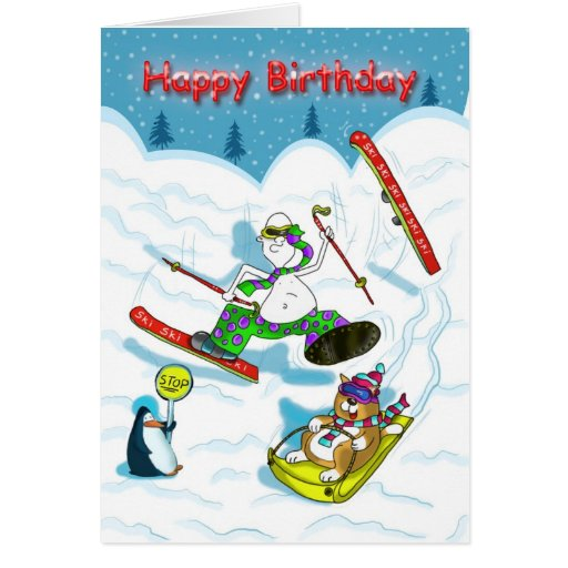 Funny skiing Birthday card, fat cat & Duncan