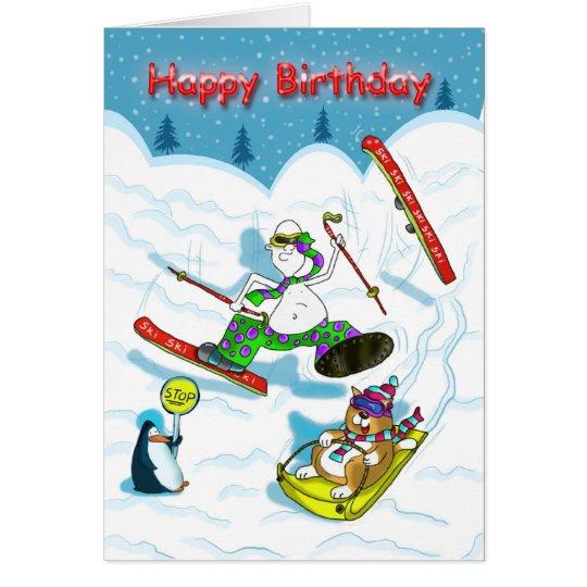 Funny skiing Birthday card, fat cat & Duncan