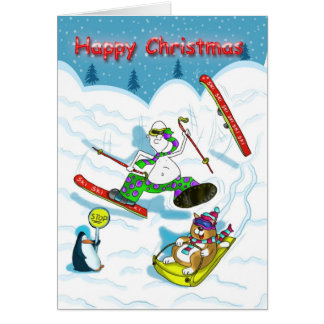 Funny skiing Christmas card, fat cat & Duncan Greeting Card