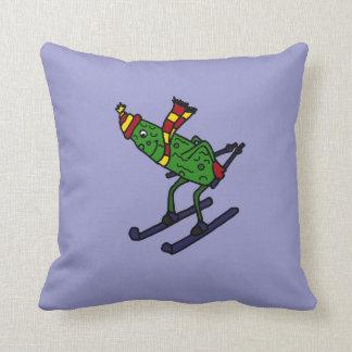 Funny Skiing Pickle Cartoon Cushion