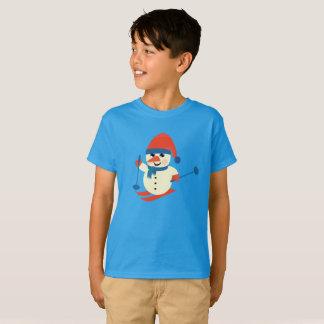 Funny Skiing Snowman, Boy's Novelty T-Shirt