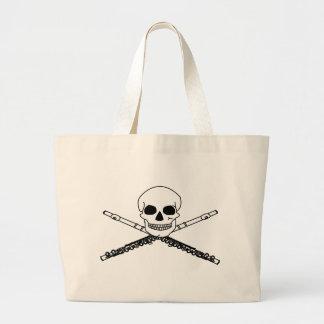 Funny Skull Flute Music Tote Bag