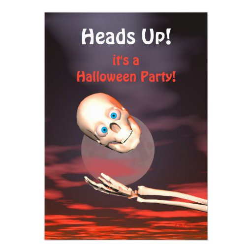 Funny Skull Throw Halloween Party Invitations
