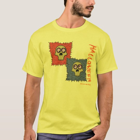 Funny skulls cartoon art Halloween t-shirt design