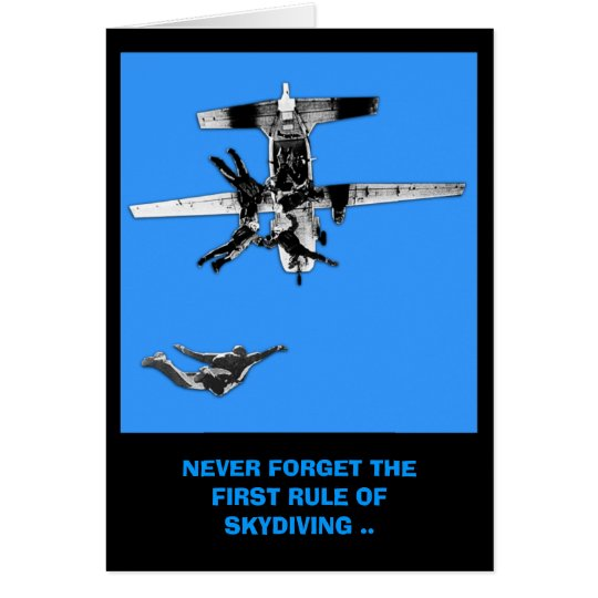 Funny sky diving birthday card