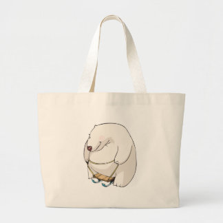 funny sledding chubby polar bear large tote bag