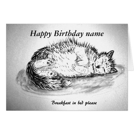 Funny sleepy cat customisable front inside card