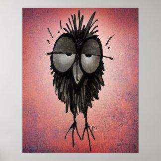 Funny Sleepy Owl Art on Pink Poster