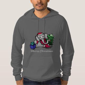 Funny Slogan Cute Cartoon Elephant Merry Christmas Hoodie