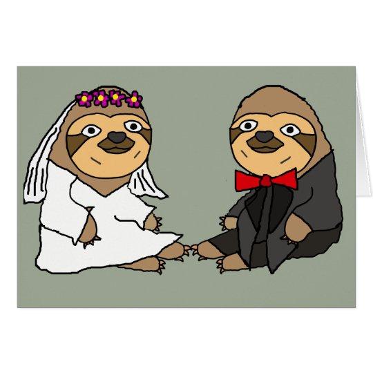Funny Sloth Bride and Groom Wedding Card