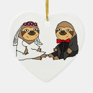 Funny Sloth Bride and Groom Wedding Christmas Ornament