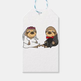 Funny Sloth Bride and Groom Wedding Gift Tags