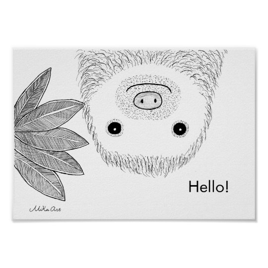 Funny Sloth Poster Sloth Ink Drawing Animal Art
